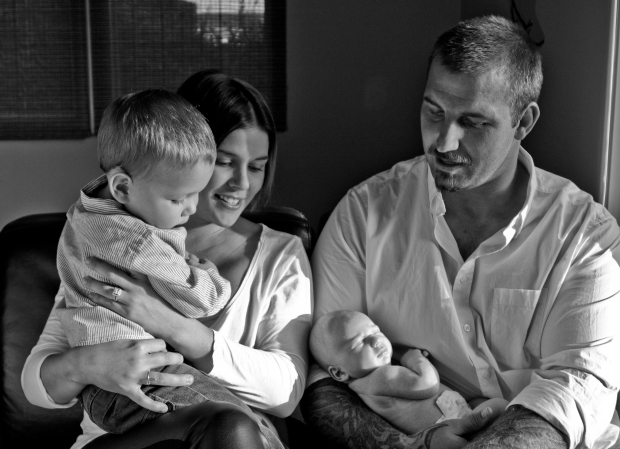 Nick, Jayme, and their two sons, Hudson and Theodore.