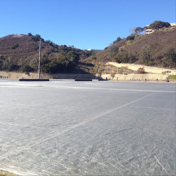 The tarped field.