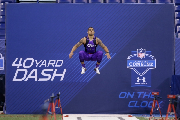 Texas State defensive back Craig Mager runs the 40-yard dash at the NFL football scouting combine in Indianapolis, Monday, Feb. 23, 2015. (AP Photo/Julio Cortez)